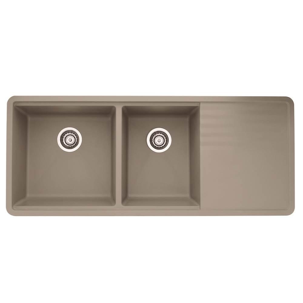 Blanco - 441292 - PRECIS SILGRANIT Multi-Level 1-3/4 Bowl With Drainer Kitchen Sink in Truffle